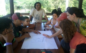 Biocultural mapping session with members and workers of the Rancho Baiguate, the venue that hosted ALLSA 2015.